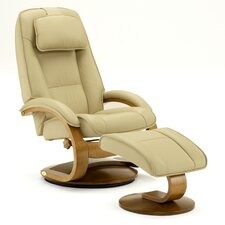 Oslo 52 Leather Ergonomic  Recliner and Ottoman
