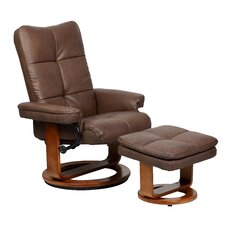 Bonded Leather Recliner with Matching Ottoman