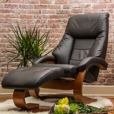 Oslo 58 Leather Ergonomic  Recliner and Ottoman
