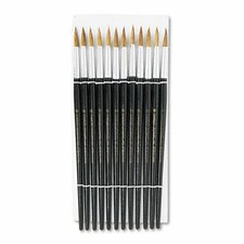 Size 10 Round Camel Hair Brush with Black Hardwood Handle, 12 per pack
