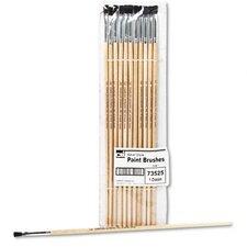 "Flat Fine-Grade Natural Bristle Easel Brush, Hardwood Handle, 1/4"" Wide, 12 per pack"