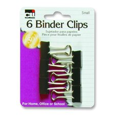 "Binder Clips, Small, 3/4"", 6/PK, Black/Steel"