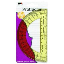"Protractor, w/ 6"" Ruler, Plastic, Assorted"