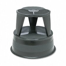 Original Kik-Step Steel Step Stool, 15-5/8 dia. x 14h, 500lb Capacity, Black