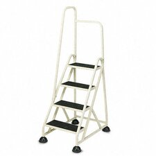 Four-Step Stop-Step Folding Aluminum Handrail Ladder