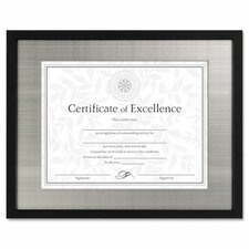Contemporary Wood Document/Certificate Frame, Silver Metal Mat