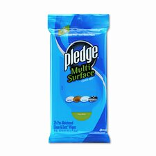 Pledge Multi-Surface Cleaner Wet Wipes, Cloth, 25/Pack, 12/Carton
