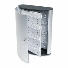 Locking Key Cabinet, 72-Key, Brushed Aluminum, 11 3/4 X 4 5/8 X 15 3/4