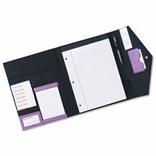 Rolodex Pad Folio, Faux Leather, Snap Close, Legal Size Pad, Resilient Pink