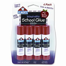 Washable School Glue Sticks, Disappearing, 4/Pack
