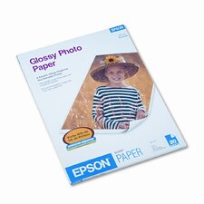 S041141 Glossy Photo Paper, 8-1/2 x 11, 20 Sheets per Pack