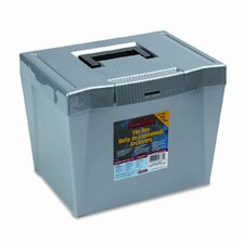 Portable File Storage Box, Letter, Plastic, 13 1/2 X 10 1/4 X 10 7/8