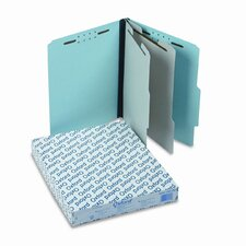 Pressboard Classification Folder, 2/5-Tab, Letter, Six-Section, 10/Box