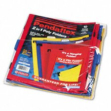 <strong>Esselte Pendaflex Corporation</strong> Two-In-One Colored Poly Folders with Built-In Tabs, Letter, 10/Pack