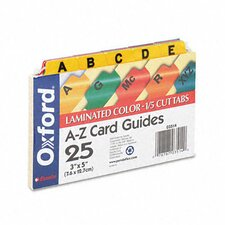 Oxford Laminated Index Card Guides, Alpha, 1/5 Tab, 3 X 5 (Set of 25)