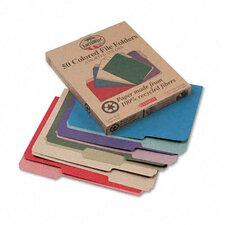 Earthwise Recycled File Folders, 1/3 Cut Top Tab, Letter, 50/Box