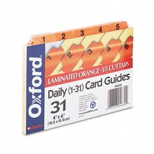 Oxford Laminated Index Card Guides, Daily, 1/5 Tab, 4 X 6 (Set of 31)