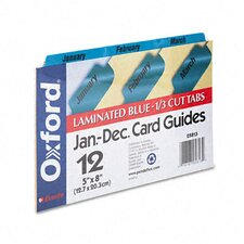 Oxford Laminated Index Card Guides, Monthly, 1/3 Tab, 5 X 8 (Set of 12)