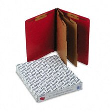 Pressboard End Tab Classification Folders, Ltr. 6-Section, Red, 10/bx