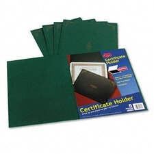 Certificate Holder, 80lb Linen Stock, 12 1/2 x 9 3/4, Green, Five per Pack