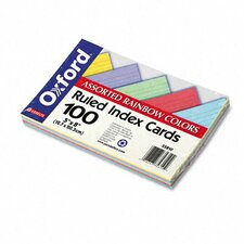 Ruled Index Cards, 5 x 8, Blue/Violet/Canary/Green/Cherry, 100 per Pack