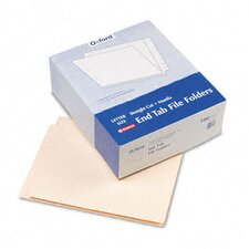 "Straight Cut End Tab Folders, 9 1/2"" Front, Letter, 100/Box"