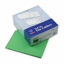 Reinforced Two-Ply Folders, Straight Cut, End Tab, Letter, Green, 100/Box