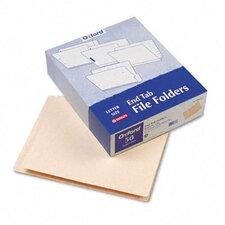 End Tab Expansion Folders, 2 Fasteners, Straight Tab, Letter, 14Pt Manila, 50/Box