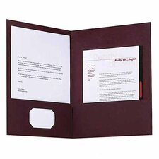 Twin Pocket Folder, Linen,for  Letter Documents, 5 per Pack, Burgundy