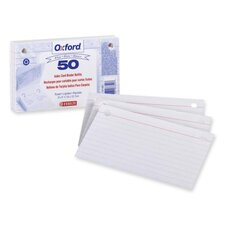 "Card Binder Refill, 2HP, Ruled, 3""x5"", White"