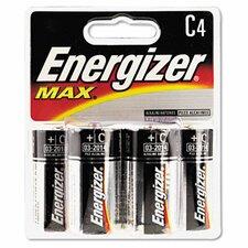 Max Alkaline Batteries, C, 4 Batteries/Pack