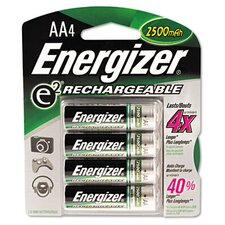 E2 Nimh Rechargeable Batteries, Aa, 4 Batteries/Pack
