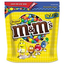 M and M'S Milk Chocolate Coated Candy with Peanut Center, 42 Oz Bag