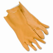 Boardwalk Flock-Lined Latex Cleaning Gloves, Large, 12/Pack
