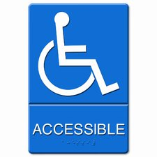 ADA Wheelchair Accessible Sign, Tactile Symbol/Braille, Molded Plastic, 6 x 9