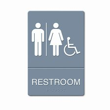 ADA Restroom Sign, Wheelchair Accessible Tactile Symbol, Molded Plastic, 6 x 9