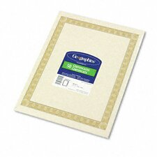 Parchment Paper Certificates, Natural Diplomat Border, 50/Pack