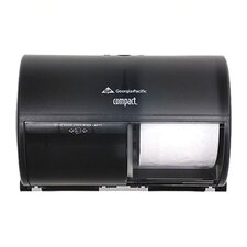 Compact Coreless Double Roll Tissue Dispenser in Smoke / Gray