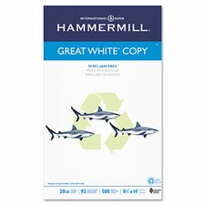 Great White Recycled Copy Paper, 92 Brightness, 20Lb, 500 Shts/Ream