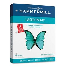 Laser Print Office Paper, 3-Hole Punch, 98 Brightness, 24Lb, Ltr, 500/Rm
