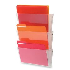 Unbreakable Wall File Set, Letter, Three Pockets, Clear