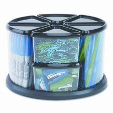 <strong>Deflect-O Corporation</strong> Nine Canister Carousel Organizer, Plastic, 11 1/8w x 11 1/8h, Black/Clear