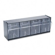 Tilt Bin Plastic Storage System with 4 Bins