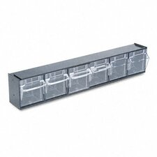 Tilt Bin Plastic Storage System with 6 Bins
