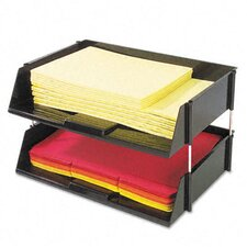 Industrial Stacking Tray Set, Two-Tier, Plastic, Black
