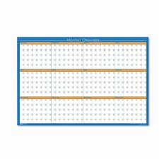 12-Month Laminated Wall Planner 3' x 2' White Board