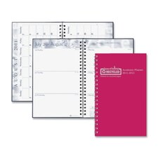 "Wirebound Leatherette Weekly Planner, 13 Mos, 5""x8"", Red, 2013"