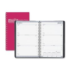 "Academic Leatherette Weekly Planner , Wirebound, 5""x8"", 13 Mos, Red, 2013"