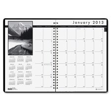 Monthly Planner with Black-and-White Photos, 8-1/2 x 11, Black, 2012