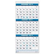 Three Month Vertical Wall Calendar